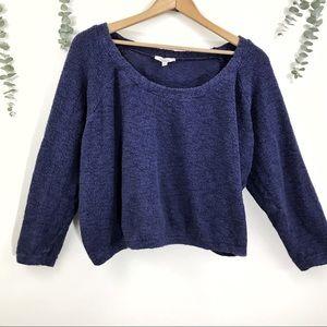 Zara Cropped Knit Sweater Boho Cozy Slouchy